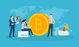 Bitcoin trading. Flat design style web banner of blockchain technology, bitcoin, altcoins, cryptocurrency mining, finance, digital money market, cryptocoin wallet, crypto exchange.  - 192851608
