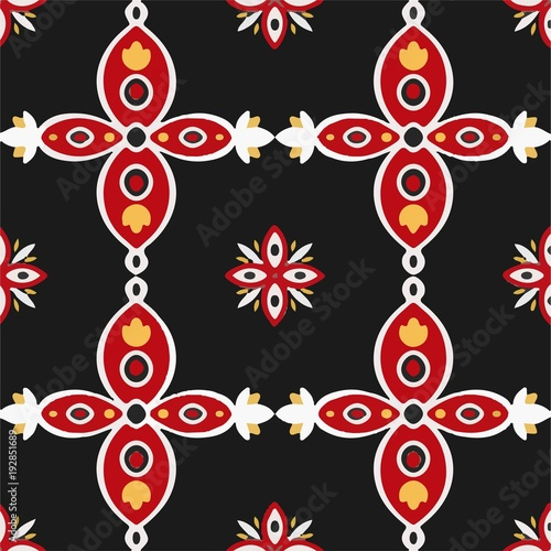 Portuguese tiles azulejos pattern vector seamless - Illustration Decor, Flooring, Textile, Tile, Tiled Floor - 192851689