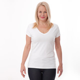 T-shirt design and people concept - close up of woman in blank white t-shirt, shirt front isolated. Mock up.