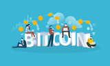 Bitcoin cloud mining. Flat design style web banner of blockchain technology, bitcoin, altcoins, cryptocurrency mining, finance, digital money market, cryptocoin wallet, crypto exchange.  - 192853011