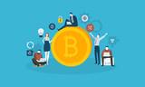 Bitcoin technology market. Flat design style web banner of blockchain technology, bitcoin, altcoins, cryptocurrency mining, finance, digital money market, cryptocoin wallet, crypto exchange.  - 192853040