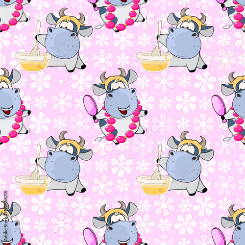 Foto op Aluminium Babykamer Background with Cute Cows for you Design. Seamless Pattern