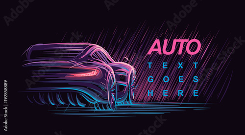 Neon modern car illustration. Vector.
