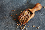 Coriander seeds in a woodenscoop on slate background - 192859693