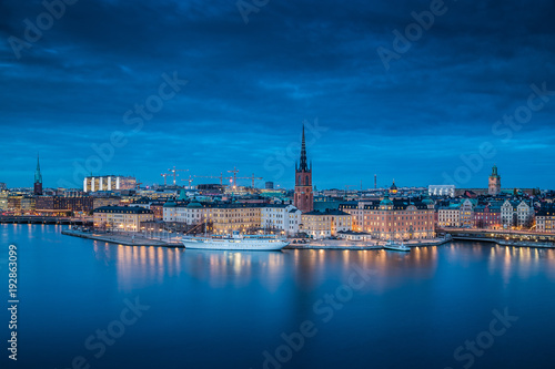 Fotobehang Stockholm Twilight view of Stockholm, Sweden, Scandinavia