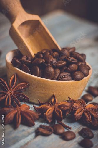 Fotobehang Koffiebonen Coffee beans and anise stars.