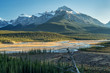 Saskatchewan River Crossing during Autumn golden hour of the Icefields Parkway