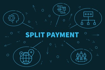 Business illustration showing the concept of split payment