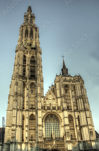 Fotobehang Antwerpen Antwerp Cathedral of Our Lady largest Gothic cathedral in Belgium and Benelux built in 1352, Flanders