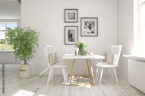 White modern dinner room. Scandinavian interior design. 3D illustration