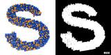 Litera s 3D sześciany kwadraty klocki piksele - 192883203