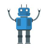Funny Retro Robot    Flat Style  Illustration Wall Sticker