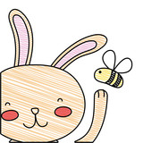 Grated Cartoon Rabbit  Bee Insect Flying Wall Sticker