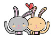 color beauty rabbit couple together with heart