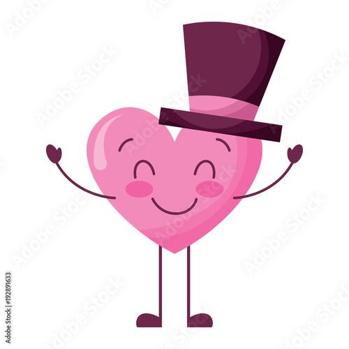 cute cartoon heart in love wearing top hat romantic vector illustration - 192891633