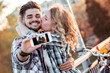 Love couple take selfie in the city.