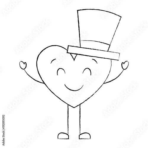 cute cartoon heart in love wearing top hat romantic vector illustration sketch image - 192893092