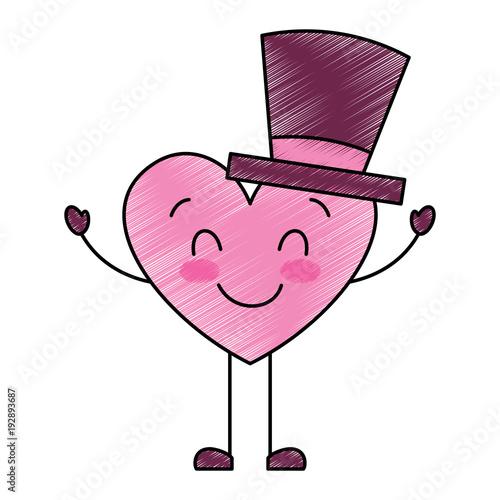 cute cartoon heart in love wearing top hat romantic vector illustration drawing image - 192893687