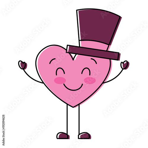 cute cartoon heart in love wearing top hat romantic vector illustration - 192894628