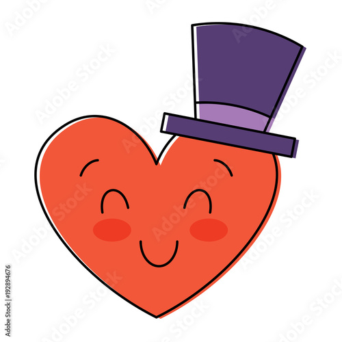 cute heart love with top hat cartoon vector illustration - 192894676