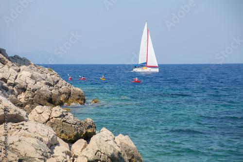 Aluminium Zeilen Sailing yacht in sea