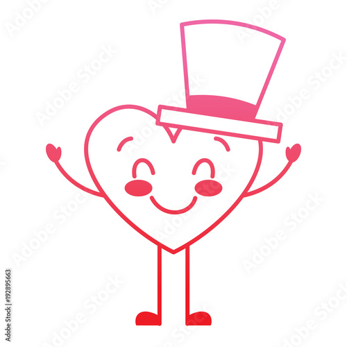 cute cartoon heart in love wearing top hat romantic vector illustration degrade red line image - 192895663
