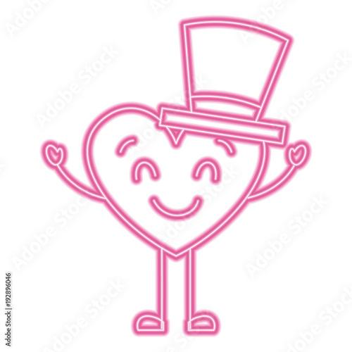 cute cartoon heart in love wearing top hat romantic vector illustration neon pink line image - 192896046