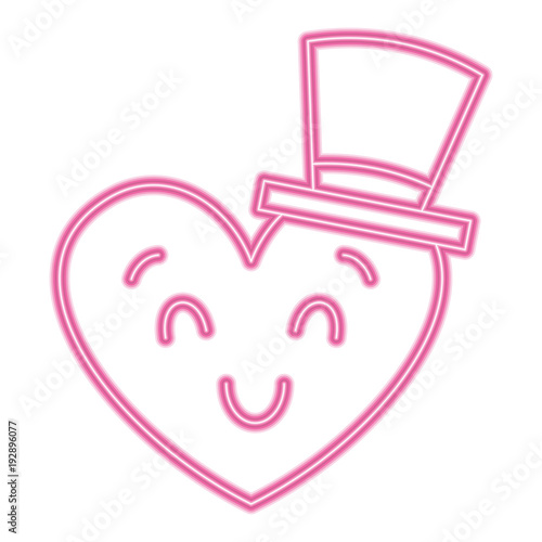 cute heart love with top hat cartoon vector illustration neon pink line image - 192896077