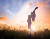 World environment day concept: Silhouette of healthy woman raised hands for praise and worship God at sunset meadow background. - 192897023