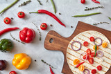 Fresh vegetables and tortilla on a wooden board - 192898492