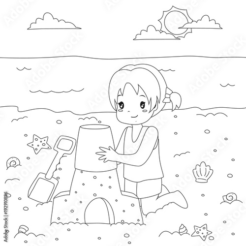 Happy girl making a sand castle on the beach. Beach holiday, printable coloring page for kids template cartoon vector.