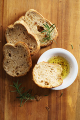 bread with olive oil.