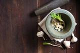 asian herbs and black mortar - 192913487