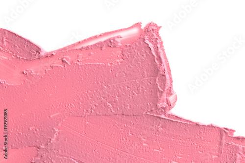 Lipstick texture. Gently pink swatch lipstick on white background.  - 192921086