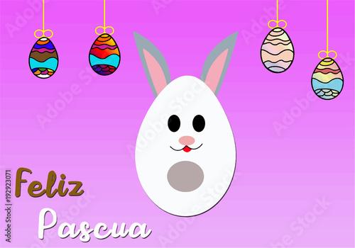 Leinwanddruck Bild Feliz pascua conejo hecho de un huevo de chocolate