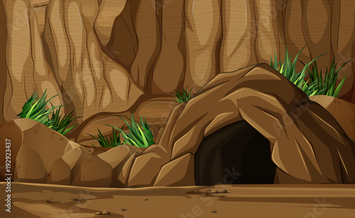 Foto op Canvas Diepbruine Background scene with cave in mountain