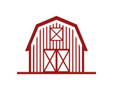 Line Art Red Barn Building Symbol Logo Vector - 192926449