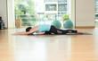 yoga class studio,asian woman master doing sleeping swanpose,Healthly lifestyle sport.