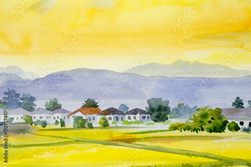 Staande foto Geel Painting village and rice field in the morning