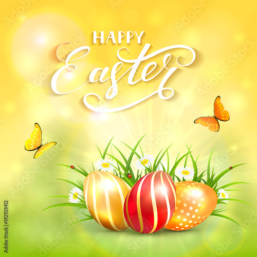 Yellow nature sunny background with Easter eggs