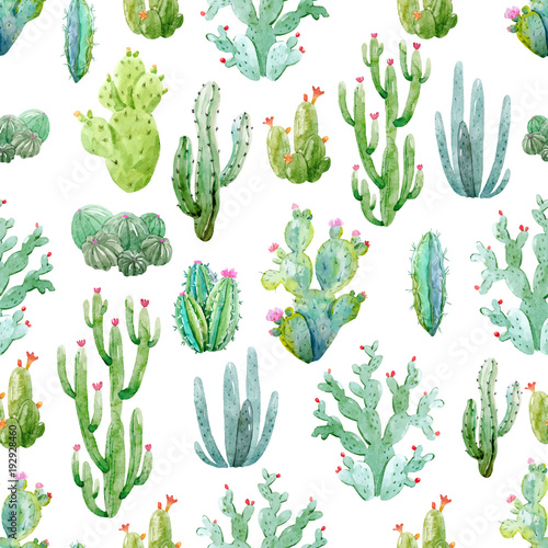 Watercolor cactus vector pattern - 192928460