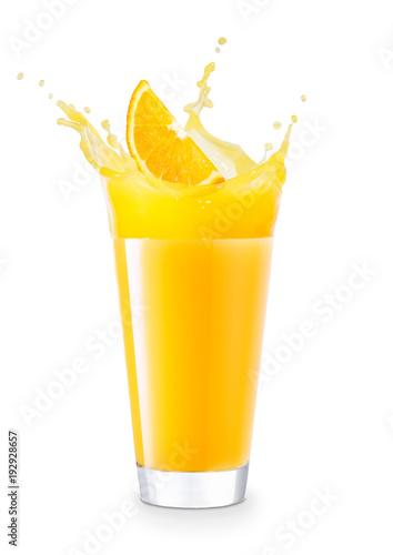 glass of splashing orange juice