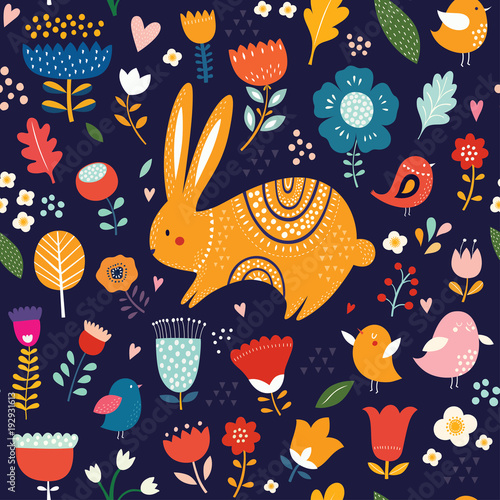 Cotton fabric Springtime seamless pattern