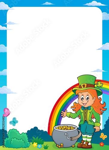 Foto op Canvas Voor kinderen Leprechaun girl theme frame 1