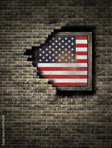 Old United States of America flag in brick wall