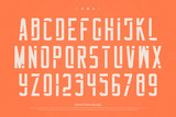 stencil alphabet letters and numbers. vector, geometric font type. regular typeface design. retro, stylish typesetting - 192942279