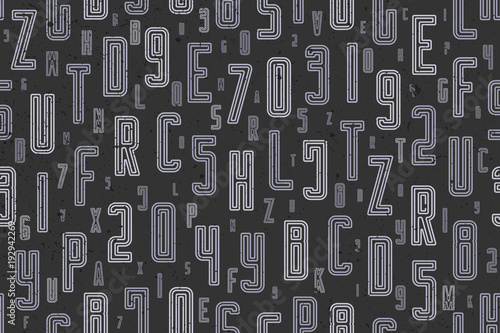 abstract, seamless pattern with alphabet letters ornament on black. vector, lettering style background. fashion, textile print with font type design. education concept wallpaper