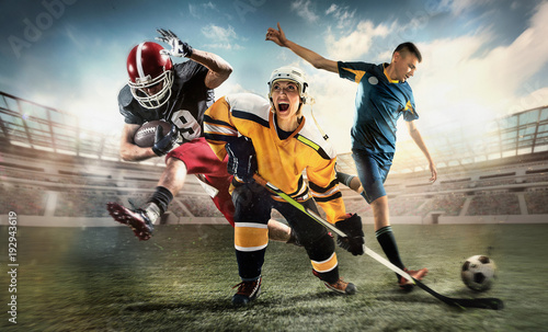 Fotobehang Voetbal Multi sports collage about ice hockey, soccer and American football screaming players at stadium