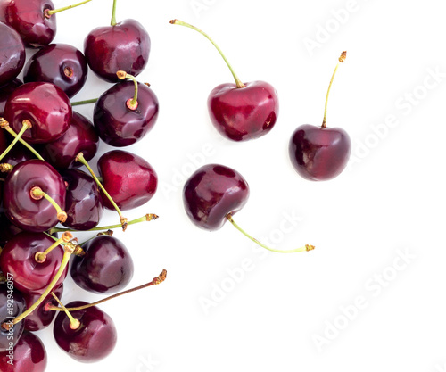 Fotobehang Kersen Cherries on white background