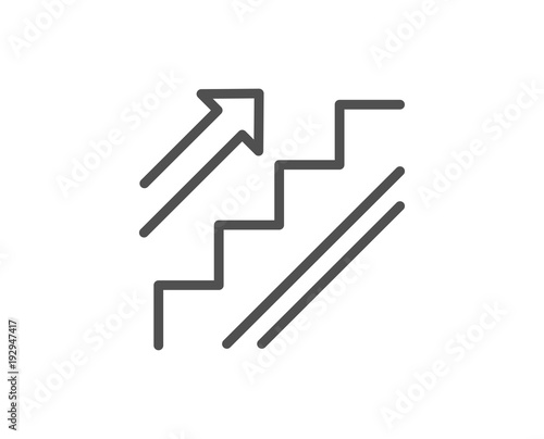 Stairs line icon. Shopping stairway sign. Entrance or Exit symbol. Quality design element. Editable stroke. Vector